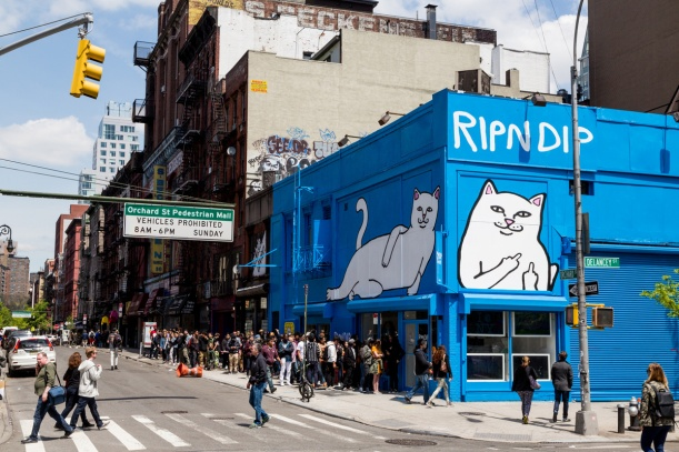 Eye catching facia on RIPNDIP pop-up